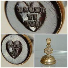 Victorian Rebus Intaglio Seal Fob Heart motto break it not by UKVintageCurios on Etsy