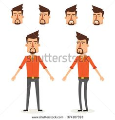 Cool Young Man Character Design. Vector Illustration - stock vector Character Design Sketches, Character Design Cartoon, Man Character, Character Sheet, Character Reference, Man Illustration, Business Illustration, Illustrations, Character Illustration