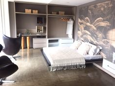 Burnt cement can be used any room of the house, including bedrooms
