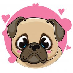 If perhaps you want an excellent friend dog, any pug is definitely a very good Cute Cartoon Animals, Cute Animals, Pug Cartoon, Animals Dog, Animal Drawings, Cute Drawings, Hipster Vintage, Carlin, Funny Pugs