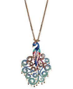 Betsey Johnson Necklace, Gold Tone Peacock Pendant Long Necklace - All Fashion Jewelry - Jewelry & Watches - Macy's