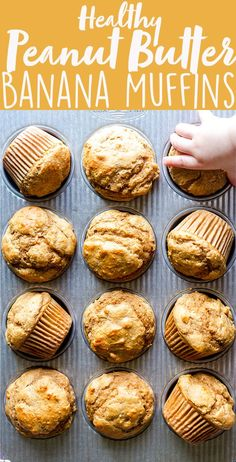 These Healthy Peanut Butter Banana Muffins are naturally sweetened with maple syrup, and packed full of healthy ingredients you can feel good about.  They make a perfect after workout snack, make ahead breakfast or a snack for kids and toddlers! | naturally sweetened, | no sugar | whole wheat | easy | greek yogurt | BLW | Baby Led Weaning | toddler food ideas | kid food ideas | after school snacks | post workout snacks | make ahead snack ideas | freezer friendly recipes | freezer breakfast