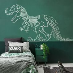 Looking for an exciting decor for your child's room, kids club, kids store or museum ?  Just add one huge T-Rex Skeleton wall decal to transform your space with an exciting piece any child will love. ► Available in XL, XXL or custom sizes, with various color options.