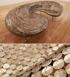 This gleaming sofa, a sculpture called 'All the King's Men' by Johnny Swing, is crafted from welded coins on a steel support. It took thousands of half-dollar coins to create this 97-inch-long work of art.
