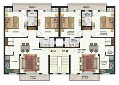 Duplex Floor Plans, Home Design Floor Plans, Apartment Floor Plans, House Floor Plans, Building Layout, Home Building Design, Building Plans, Condominium Architecture, Plans Architecture