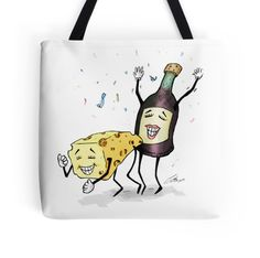 'Cheese & Whine Party' Tote Bag by Jiggy Creationz Large Bags, Small Bags, Cotton Tote Bags, Reusable Tote Bags, Posh Party, Medium Bags, Are You The One, Finding Yourself, Arts And Crafts