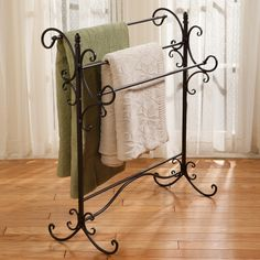 This iron quilt rack could show off your favorite bed coverings and could also be passed on as a family heirloom.