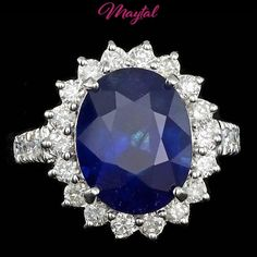$6900 CERTIFIED 14K WHITE GOLD 8.00CT SAPPHIRE 1.20CT DIAMOND RING #Cocktail
