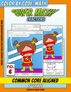 Super Math – 006 – 2nd grade - Common Core Aligned - Fractions   With this puzzle students will color by looking at the shapes and using the words: one quarter, three quarters, one third, two thirds, one half, two halves.