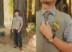 Stylin groom in tweed and gingham via Well-Groomed <-- totally diggin this! Nathan would look adorable!