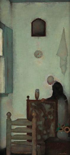 Jan Mankes. Zijn moeder in huis met zijn kerkuiltje.