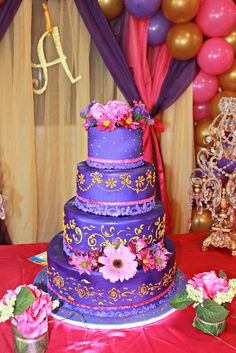 Stunning purple cake at a Princess Birthday Party! See more party planning ideas at CatchMyParty.com!