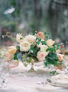 Peach Green Garden Centerpiece..but would like with more green, less pink, a bit more white