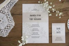 "Wedding Stationery - Invite & Save the Date || ""Vintage Hydrangea"" 