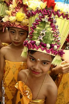 Lavish Coconut leaf headdresses . Bali Indonesia www.liberatingdivineconsciousness.com