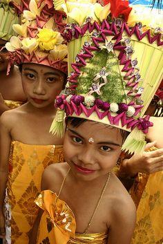 Lavish Coconut leaf headdresses . Bali Indonesia