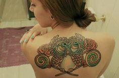 Owl girl back tattoo | Best tattoo ideas & designs