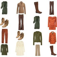 Winter Olive, Cream and Rust/Beige Capsule Wardrobe in Autumn Colours Capsule Wardrobe, Fall Wardrobe, Soft Autumn Color Palette, Autumn Colours, Citizens Of Humanity, Phillip Lim, Olive Pants Outfit, Warm Autumn, Deep Autumn