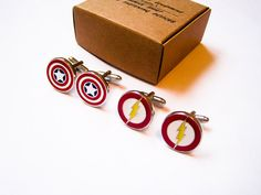 LondonDesign - Captain America and Flash 2 pairs of Cuff Links - stainless steel