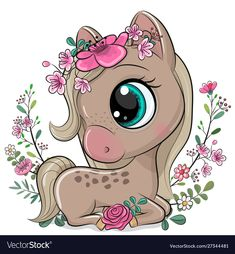 Cartoon Horse with flowers on a white background. Cute Cartoon Horse with flowers on a white background vector illustration Baby Animal Drawings, Cute Cartoon Drawings, Cute Cartoon Animals, Cartoon Kids, Cute Animals, Horse Cartoon Drawing, Cute Cartoon Images, Unicorn Drawing, Cartoon Unicorn