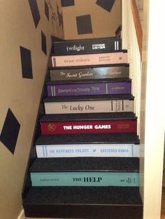 Custom Book Decals for Stair Risers by VIPdecals on Etsy - Creator will customize size and font using the titles you choose. Book Staircase, Staircase Design, Staircase Ideas, Book Background, Painted Stairs, Thing 1, Custom Book, Happiness Project, Making 10