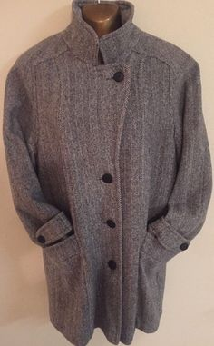 VTG Herman Kay Classic Tweed Herringbone 80% Wool Peacoat Button Front  | eBay