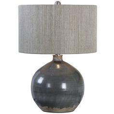 Uttermost Ceramic Table Lamp (335 CAD) ❤ liked on Polyvore featuring home, lighting, table lamps, grey, uttermost table lamps, uttermost lamps, grey drum lamp shade, grey lamp and drum shade lighting