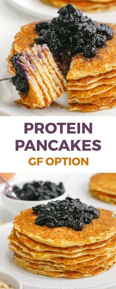 These protein pancakes get a nutritional boost from cottage cheese and Greek yogurt! The recipe makes enough for just two people but you can easily double or even quadruple the recipe. Can be made gluten-free or whole grain. Gluten Free Recipes For Breakfast, Gluten Free Breakfasts, Brunch Recipes, Gourmet Recipes, Healthy Recipes, Protein Recipes, Crepe Recipes, Healthy Cooking, Drink Recipes