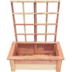 Hollis Wood Products 36 in. x 19 in. Redwood Planter Box with Trellis-12004 - The Home Depot