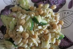 Orzo Salad with Garbanzo Beans, Lemon, Dill and Feta. Beautiful light and filling salad that is bursting with flavor. Quick and easy to make