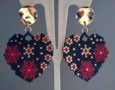 Beaded Earrings, Beaded Jewelry, Handmade Jewelry, Burlap Flowers, Beading Ideas, Brick Stitch, Heart Jewelry, Beads, Crochet Dresses
