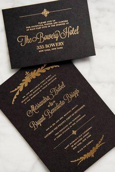 Black Gold Foil Stamp Invitations