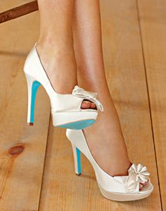 Wedding Shoes with a touch of something blue!