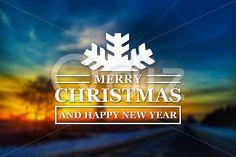 Qdiz Stock Photos Merry Christmas and New Year greeting card,  #background #blur #blurred #card #celebration #Christmas #eve #greeting #happy #holiday #Merry #new #postcard #retro #road #season #sundown #Sunset #traditional #vintage #winter #xmas #year