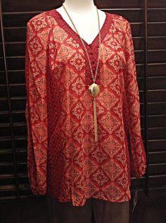 Zac & Rachel  - Deep orange tunic with gathered sleeves  - $48