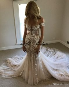 Pallas Couture Champagne Mermaid Wedding Dresses 2018 Modest Lace Tulle Off shoulder Sweet Train Country Garden Trumpet Wedding Gown