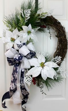 Winter White Grapevine Wreath, Winter White Christmas Wreath, Winter Wreath, Poinsettia Wreath, Poinsettia Grapevine Wreath by WruffleWreathsbyLana on Etsy