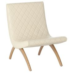 ++ danforth ivory quilted top grain/wood chair