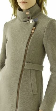 note the zipper Boucle Coat, Wool Coat, Black Button, Turtle Neck, Fashion Outfits, Suits, Stylish, My Style, Olive Green