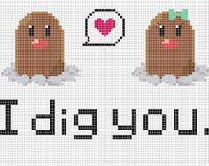 PDF Pattern- Pokemon Diglett Love Cross Stitch Pattern