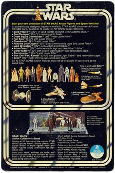 1977 Star Wars 12-back action figure backing card by Kenner