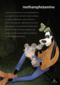 Anti-drug poster by Alex Mullen. Goofy says to say no to meth Meth Addiction, Drug Addiction Recovery, Addiction Quotes, Drug Memes, Drug Quotes, Movie Quotes, Life Quotes, Funny Adult Memes, Adult Humor