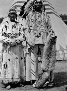 Mrs. Heavy Shield and her husband, Heavy Shield - Blackfoot (Siksika) - circa 1950