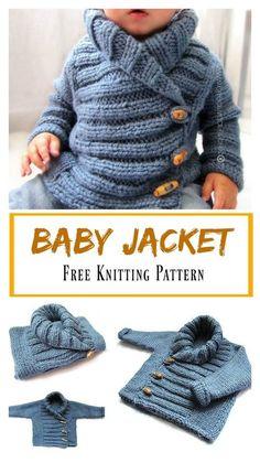 Child Knitting Patterns Child Jacket Free Knitting Sample Baby Knitting Patterns Supply : Baby Jacket Free Knitting Pattern by Crochet For Boys, Knitting For Kids, Knitting Projects, Knitting Ideas, Knit For Baby, Boy Crochet, Booties Crochet, Crochet Projects, Sewing Projects
