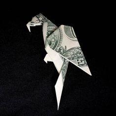 Origami Sculpture PARROT 3D Art Gift Money Figurine Handmade