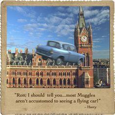 """Ron, I should tell you... most Muggles aren't accustomed to seeing a flying car!"" #harrypotter #harrypotterquotes"