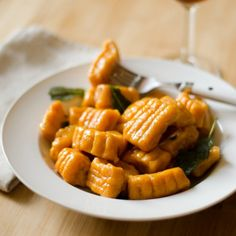 ... potato pumpkin gnocchi with crispy sage and a goat cheese cream sauce