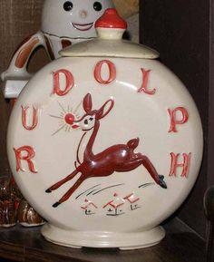 Vintage Rudolph The Red-Nosed Reindeer cookie jar by American Bisque
