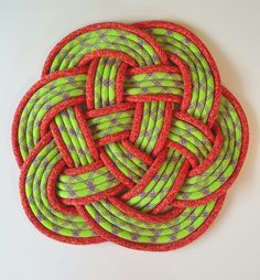 """Lime Green & Bright Orange Rope Mat by NAUTI NARWHAL nautical upcycled recycled rope 14"""" x 14"""" x 1"""""""