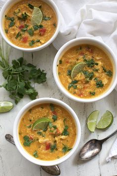 This Slow Cooker Thai Quinoa, Chicken, and Butternut Soup is creamy and rich without any cream. Loaded with vitamin and veggie goodness!